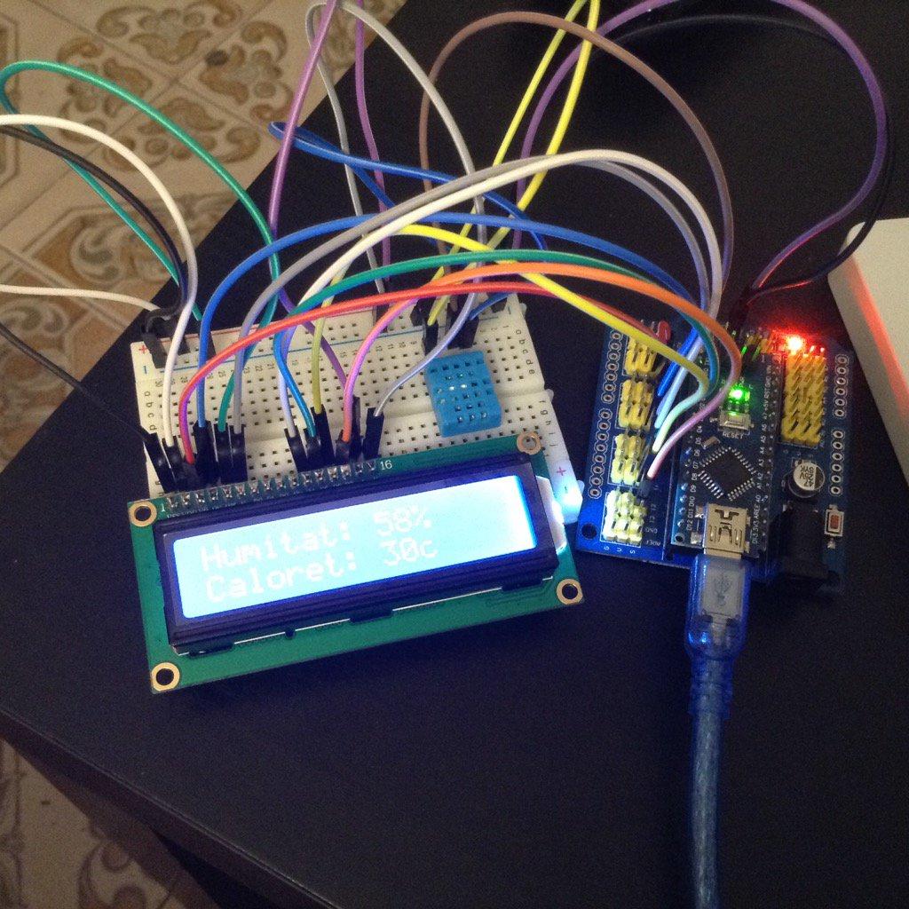 Arduino temperatura i humitat (DHT11) + LCD (1602)